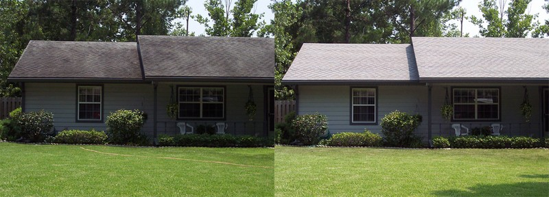 NO-pressure roof cleaning before&after small house